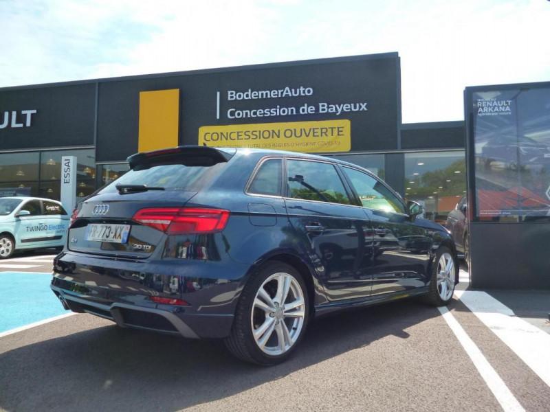 Audi A3 Sportback 30 TDI 116 S tronic 7 Sport Bleu occasion à BAYEUX - photo n°3