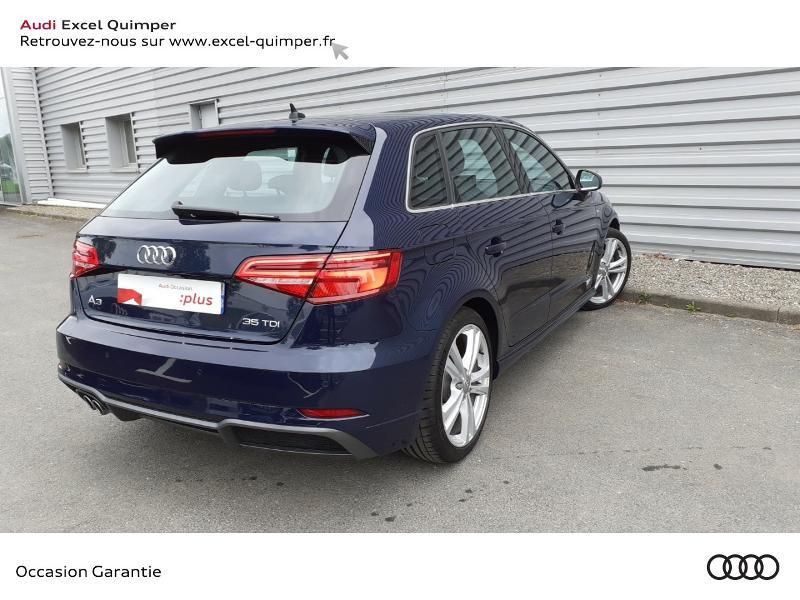 Audi A3 Sportback 35 TDI 150ch S line Plus S tronic 7 Euro6d-T 112g Bleu occasion à Quimper - photo n°4