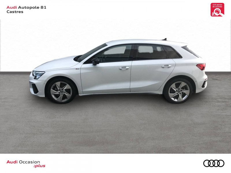 Audi A3 Sportback A3 Sportback 35 TDI 150 S tronic 7 S line 5p Blanc occasion à Castres - photo n°3