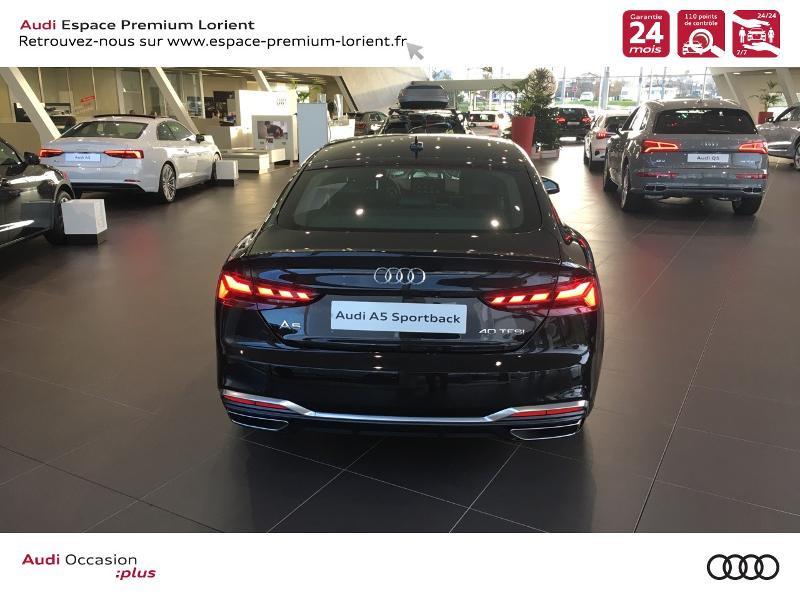 Audi A5 Sportback 40 TFSI 190ch S line S tronic 7 Euro6d-T 132g Noir occasion à Lanester - photo n°5
