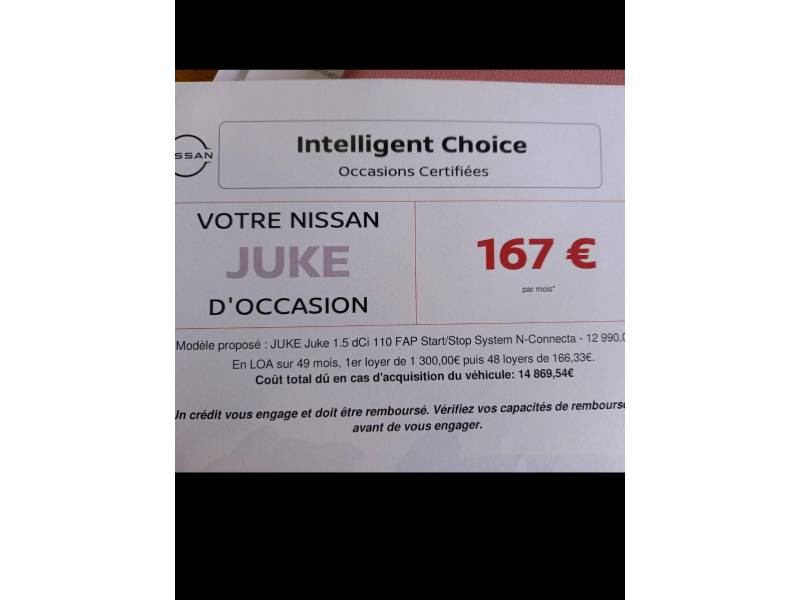 Nissan Juke 1.5 dCi 110 FAP Start/Stop System N-Connecta Blanc occasion à Périgueux - photo n°17