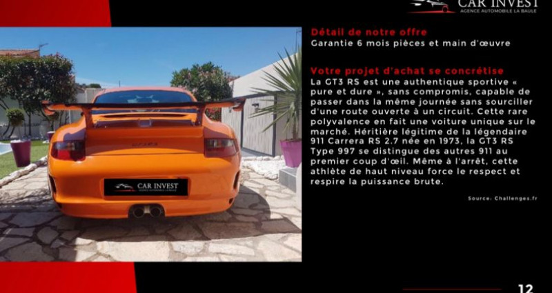 Porsche 911 Type 997 type 997 gt3 rs tat exceptionnel1 Orange occasion à LA BAULE - photo n°5